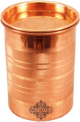 IndianArtVilla Copper Glass With Lid, Drinkware Home Restaurant, Yoga Glass(Copper, 300 ml, Brown, Pack of 1)