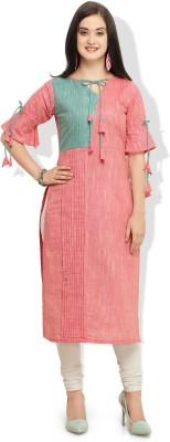 REI Casual Self Design Women Kurti(Pink)