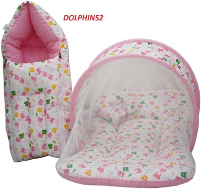 Dolphin52 COMBO OF BABY SLEEPING BED AND BABY SLEEPING BED WITH NET Sleeping Bag(Multicolor)