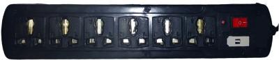 Unique MULTI PLUG USE 6+1 ELECTRIC BOARD POWER STRIP SURGE PROTECTOR EXTENSION CORD 6 Socket Extension Boards Black