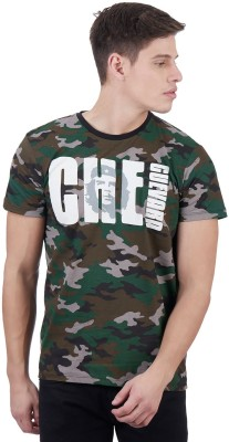 Che Guevara By Free Authority Military Camouflage Men Round Neck Multicolor T-Shirt