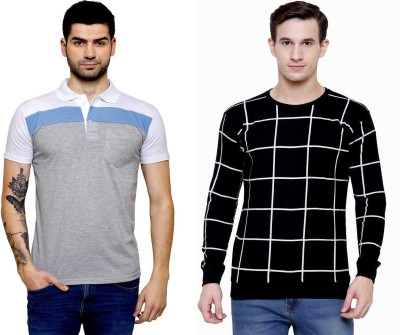 SCATCHITE Color Block, Checkered Men Polo Neck Black, White, Grey T-Shirt(Pack of 2)