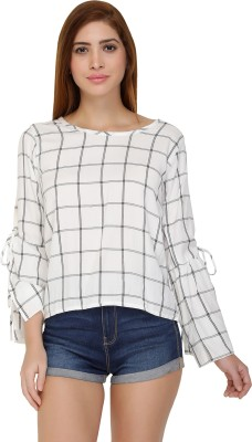 Chimpaaanzee Casual Slit Sleeve Checkered Women White Top