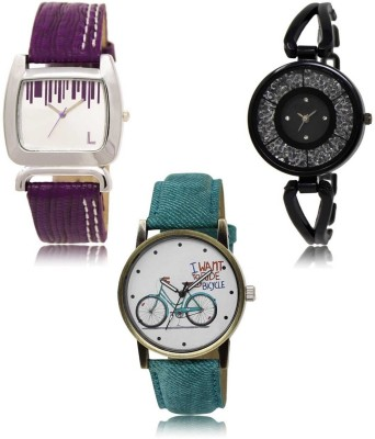 Red Robin LR-207-211-229 Premium Quality Collection Latest Set of 3 Stylish Attractive Professional Designer Combo Analog Watch  - For Women