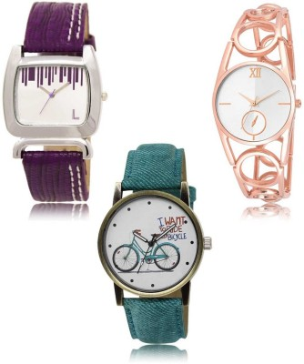 Red Robin LR-207-213-229 Premium Quality Collection Latest Set of 3 Stylish Attractive Professional Designer Combo Analog Watch  - For Women