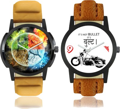 "Talgo ""4 Elements of Earth"" Printed and ""Bullet"" Printed Analog Dial New Trending Combo of 2 Watch Talgo 2017 New Special (Combo) Collection Of 4 Elements of Earth Printed And Bullet Printed On Round Shaped Black Dial Analogue Stylish Looked Leather Strap Trendy And New Special Production First Time"
