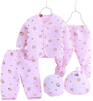 Guru Kripa Baby Products Presents New Born Baby Winter Wear Keep warm Cartoon Printing Baby Clothes 5Pcs Sets Cotton Baby Boys Girls Unisex Baby Fleece / Falalen Suit Infant Clothes First Gift For New Baby(Pink)
