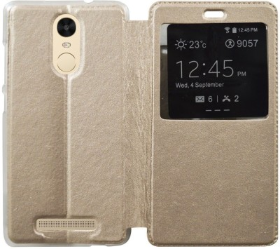 COVERNEW Flip Cover for Mi Redmi Note 3 Gold COVERNEW Plain Cases   Covers