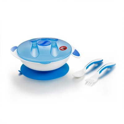 Guru Kripa Baby Products Presents Baby Kids Feeding Dish With Cover Spoon & Fork- Traveltime Feeding Food Storage Container Unbreakable Portable Dispenser Bowl with Vacuum Suction Hold .  - Imported Plastic(Blue)