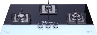 Seavy 3 Brass Burner Built In Hob Top (Benz) Glass Automatic Hob(3 Burners)