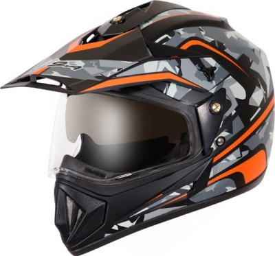 VEGA Off Road D/V Camo Motorbike Helmet(Dull Black Orange)