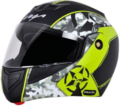 VEGA Crux DX Camouflage Motorbike Helmet(Dull Black Neon Yellow)