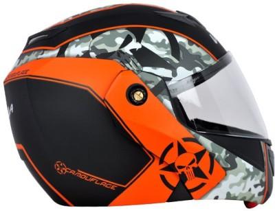 VEGA CRUX DX CAMOUFLAGE Motorbike Helmet(white with orange)