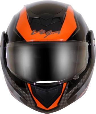 VEGA CRUX DX CHECKS BLACK ORANGE HELMET Motorbike Helmet(Multicolor)