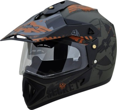 VEGA Off Road D/V Secret Motorbike Helmet(Dull Green Black)