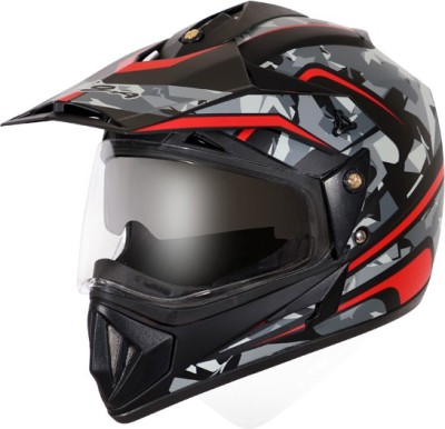 VEGA Off Road D/V Camo Motorbike Helmet(Dull Black Red)