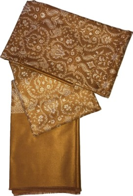 ASE Polyester Wool Blend Floral Print Women Shawl(Gold)