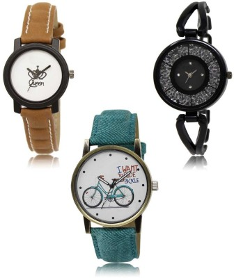Red Robin LR-209-211-229 Premium Quality Collection Latest Set of 3 Stylish Attractive Professional Designer Combo Analog Watch  - For Women