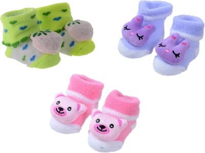 Shop Frenzy Cute stylish baby boy and girl unisex bootie / socks Booties(Toe to Heel Length - 9 cm, Purple, Green, Pink)