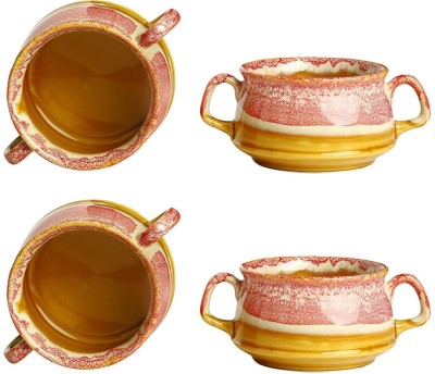 Caffeine Ceramic Handmade Pink & Brown Double Handled Soup Bowl Ceramic Soup Bowl(Pink, Pack of 4)