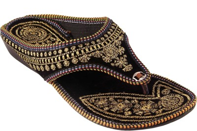ZAISHA Women Black, Gold Flats