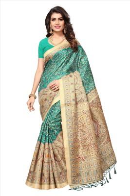 PaLkAaNo Printed Bhagalpuri Pure Silk, Poly Silk Saree(Green, Beige)