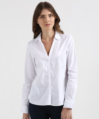 Marks & Spencer Women Solid Casual White Shirt