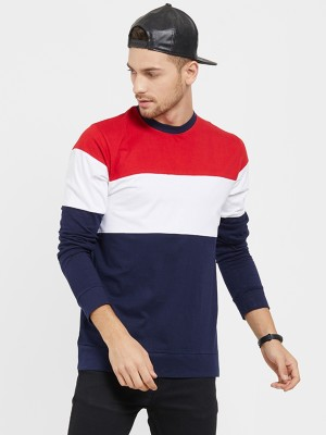 LEWEL Color Block Men Round Neck Red, White, Dark Blue T-Shirt