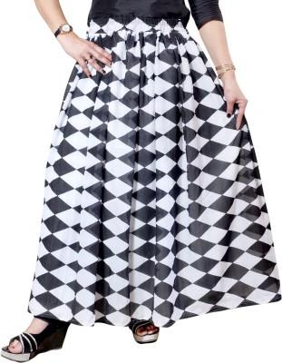 Janak Printed Women Gathered White, Black Skirt