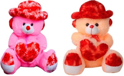 Samayra Toys Combo Offer Pack of Two Pink & Cream Teddy Bear with Cap 1.6 Feet - 50 cm(Pink, Cream), Cream;pink