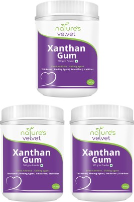 Natures Velvet Lifecare Xanthan Gum Powder Thickening agent 500gms -Pack of 3 Carboxymethyl Cellulose (CMC) Powder(1500 g)