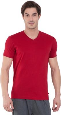Jockey Solid Men V-neck Red T-Shirt