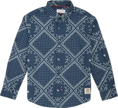 US Polo Kids Boys Printed Casual Dark Blue Shirt at flipkart