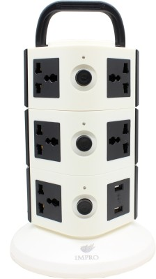 Impro Black Colour 11 Socket + 2 USB Ports Tower Socket Spike Buster || 3 Floor Vertical || Surge Protector || Universal Multi Plug Points Adapter ||