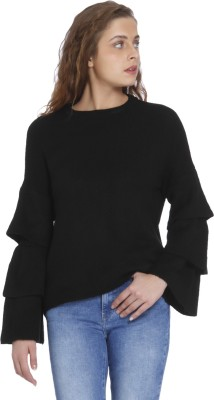 Only Solid Round Neck Casual Women Black Sweater at flipkart