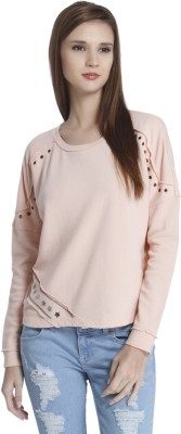 Only Solid Round Neck Casual Women Pink Sweater at flipkart