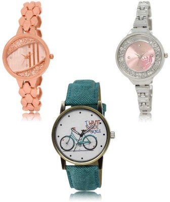 Red Robin LR-222-226-229 Premium Quality Collection Latest Set of 3 Stylish Attractive Professional Designer Combo Analog Watch  - For Women
