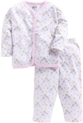 Spring Bunny Kids Nightwear Girls Printed Cotton Blend(Pink Pack of 1)