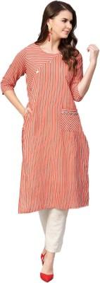 Shree Women Striped Straight Kurta(Orange)