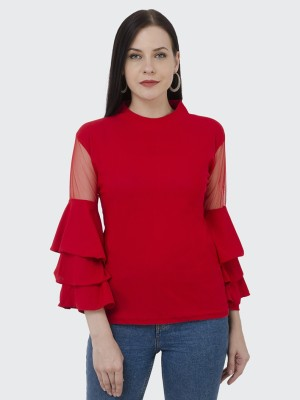 BuyNewTrend Casual Full Sleeve Solid Women Red Top BuyNewTrend Women's Tops
