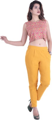 FASHION CLOUD Regular Fit, Relaxed Women Yellow Trousers