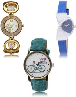 Red Robin LR-204-208-229 Premium Quality Collection Latest Set of 3 Stylish Attractive Professional Designer Combo Analog Watch  - For Women