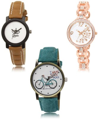 Red Robin LR-209-210-229 Premium Quality Collection Latest Set of 3 Stylish Attractive Professional Designer Combo Analog Watch  - For Women