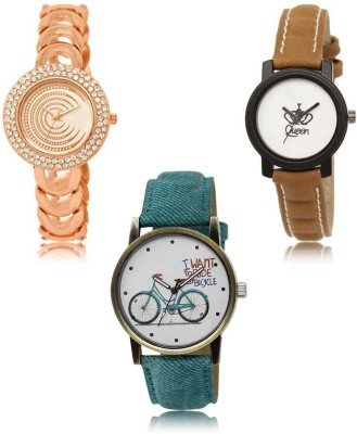 Red Robin LR-202-209-229 Premium Quality Collection Latest Set of 3 Stylish Attractive Professional Designer Combo Analog Watch  - For Women