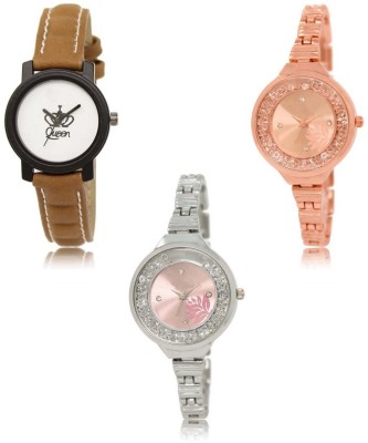 Red Robin LR-209-225-229 Premium Quality Collection Latest Set of 3 Stylish Attractive Professional Designer Combo Analog Watch  - For Women