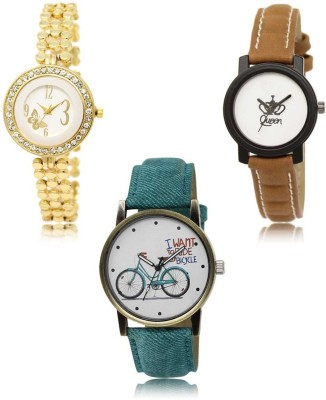 Red Robin LR-203-209-229 Premium Quality Collection Latest Set of 3 Stylish Attractive Professional Designer Combo Analog Watch  - For Women