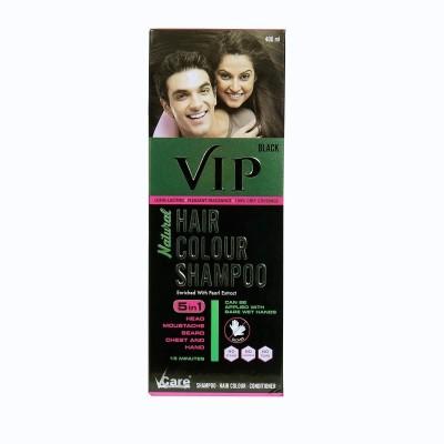 VIP Hair Color Shampoo, 400ml , Black Hair Color(BLACK)