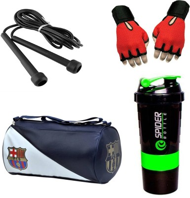 Rocket Sales Combo Of FCB Gym Bag, Gloves(Red), Spider Shaker(Green) And Skipping Rope(Black) Gym & Fitness Kit