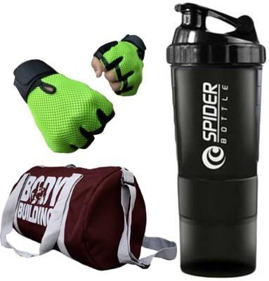 Rocket Sales Combo Of BodyBuilding Gym Bag, Gloves (Green) And Spider Shaker (Black) Gym & Fitness Kit