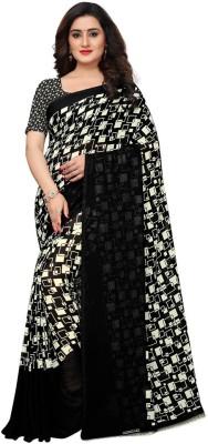 Saara Geometric Print Venkatagiri Pure Chiffon, Heavy Georgette, Georgette Saree(Black, White)